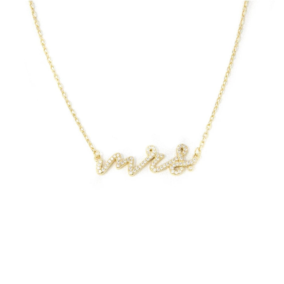 Crystal MRS Script Necklace JEWELRY The Sis Kiss