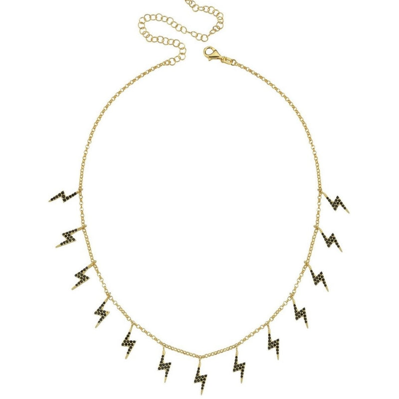 Lightning Bolt Choker Necklace JEWELRY The Sis Kiss Black