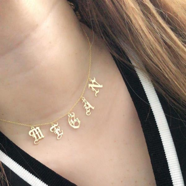 Gothic All in a Name Custom Necklace in gold