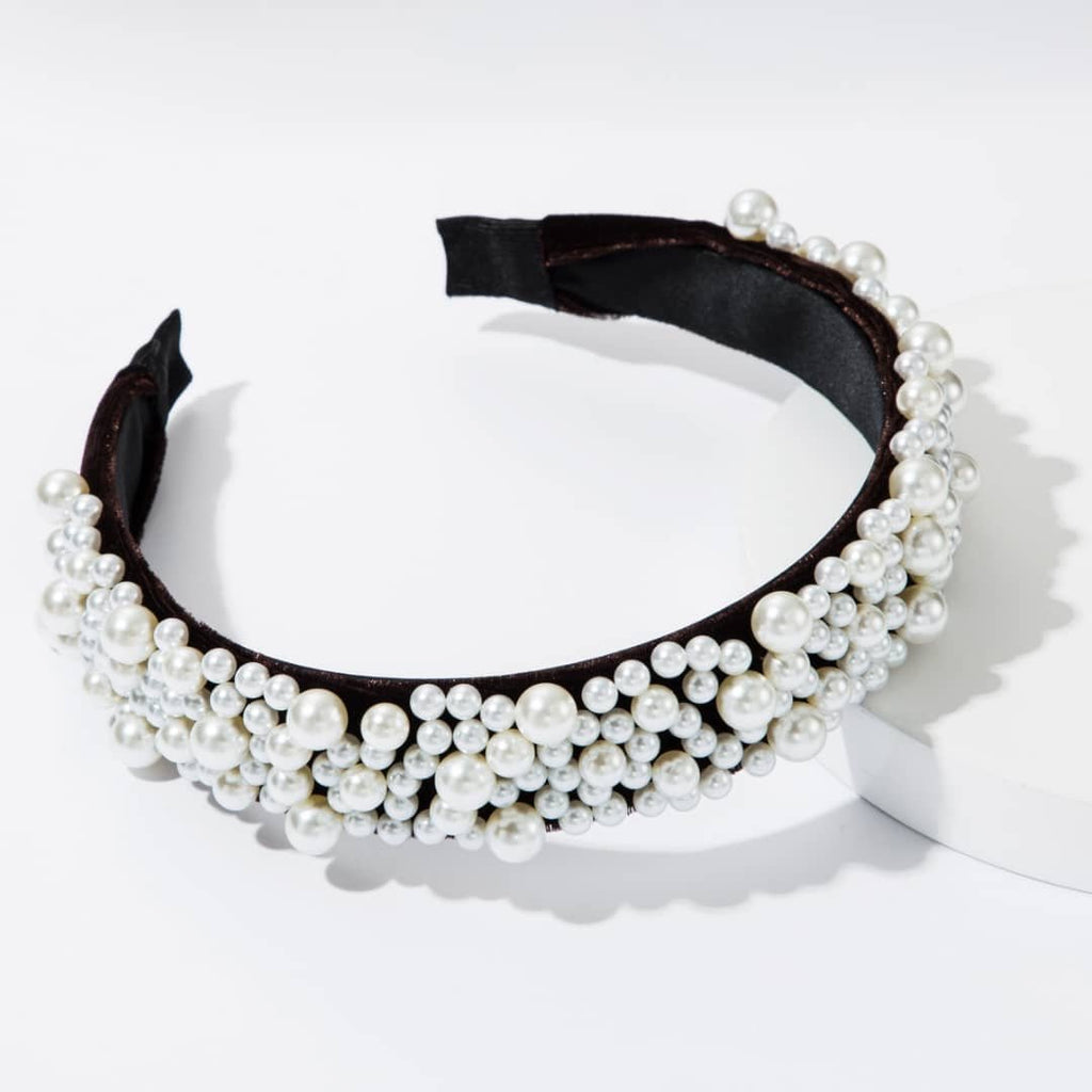 Multiple Pearl Headband ACCESSORY The Sis Kiss Black