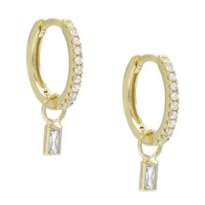 Pave Dangle Huggie Earrings in gold with pave crystals