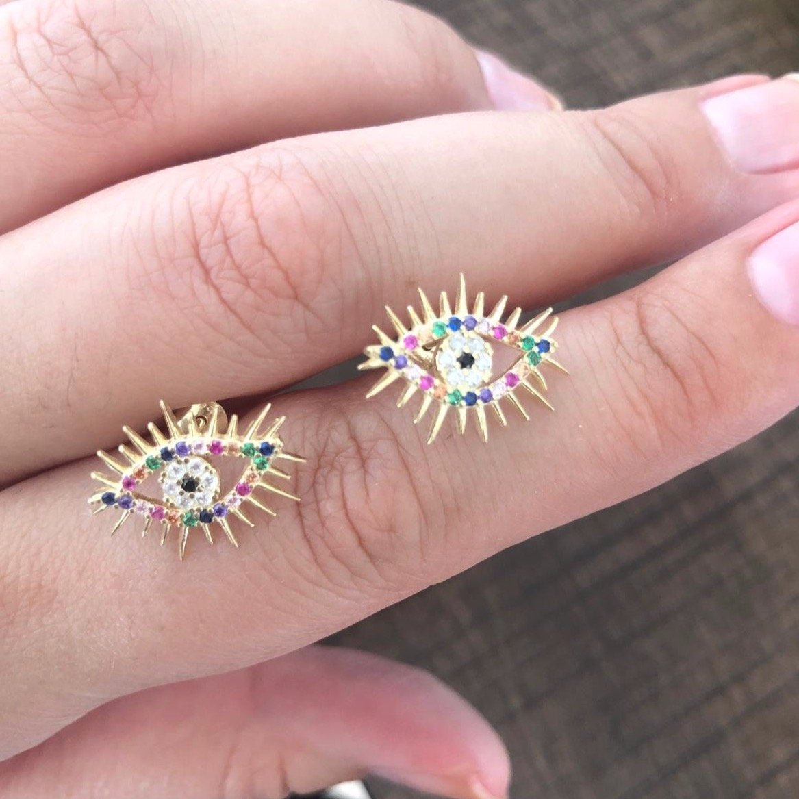 Rainbow Lash Evil Eye Earring Studs