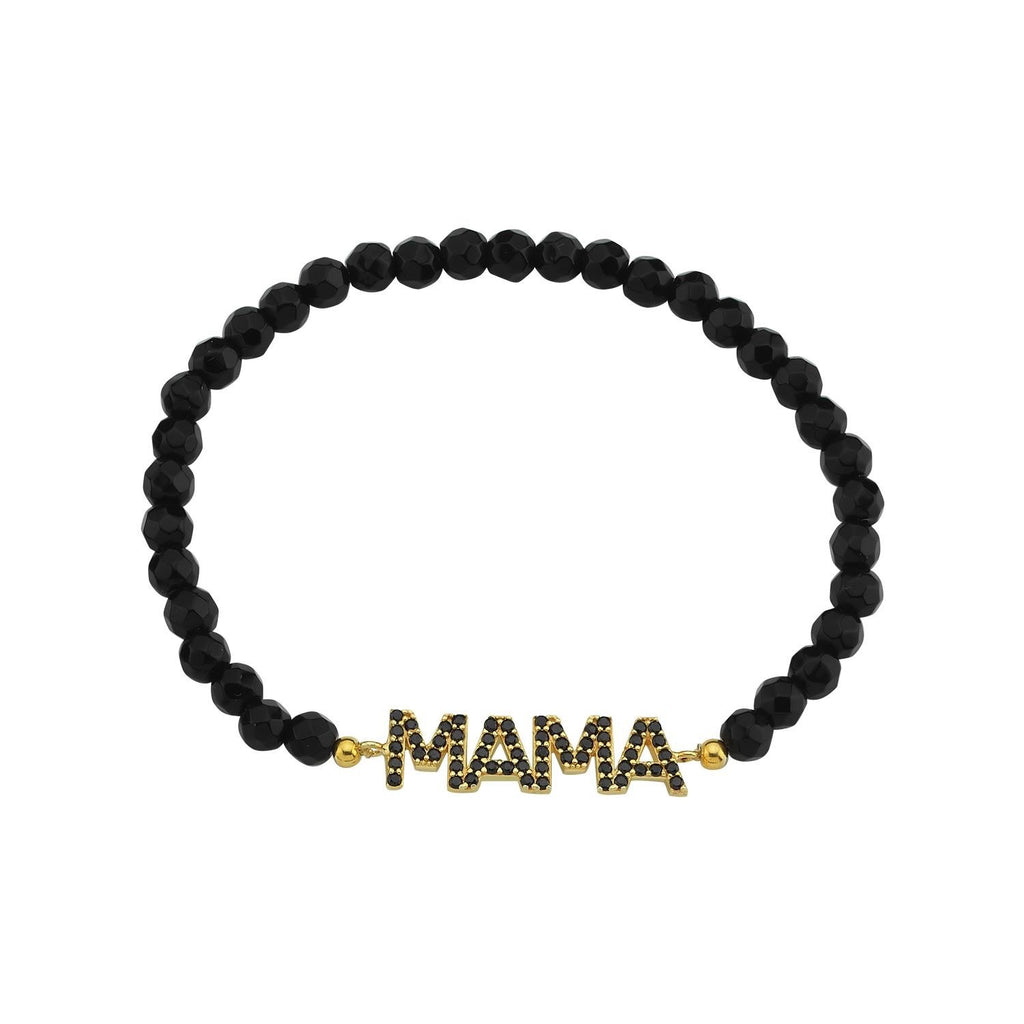 Mama Beaded Bracelet JEWELRY The Sis Kiss Black