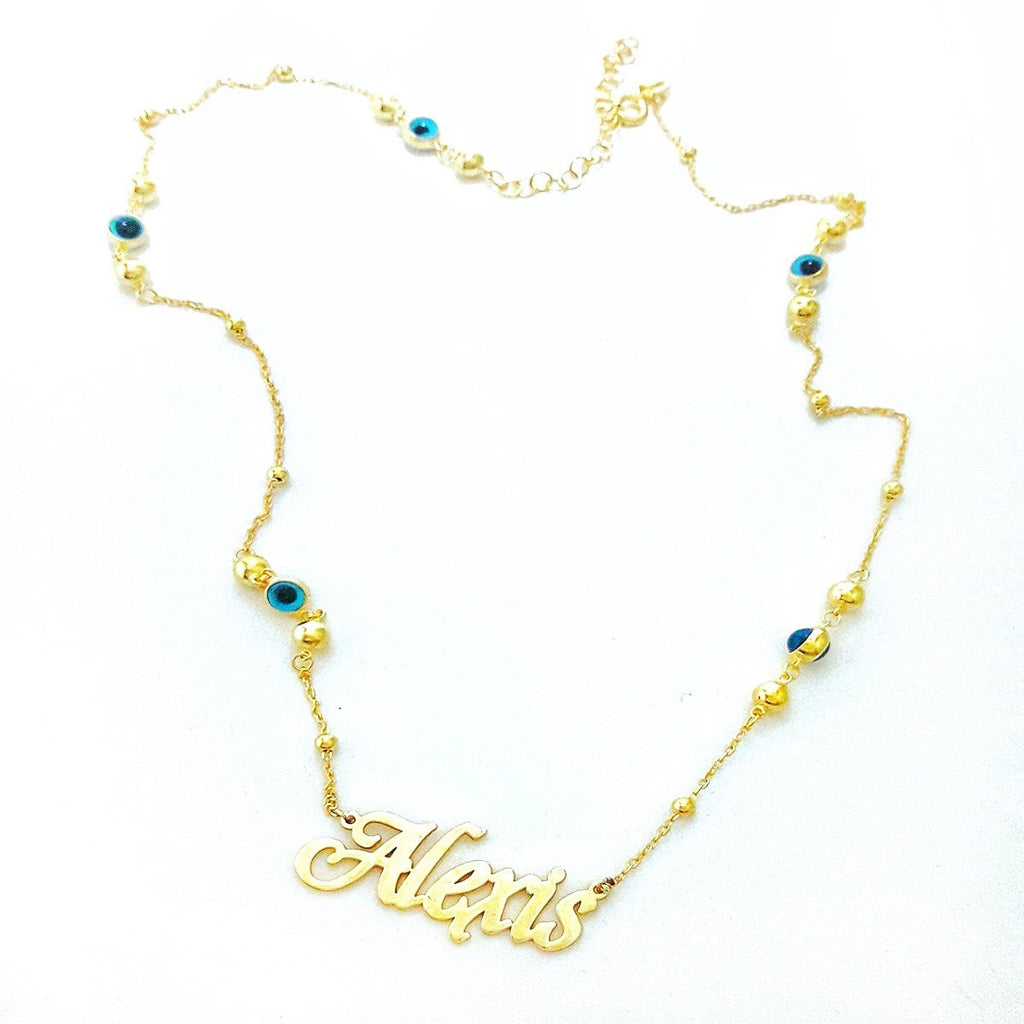 Custom Evil Eye Chain Necklace JEWELRY The Sis Kiss Script Font in Gold