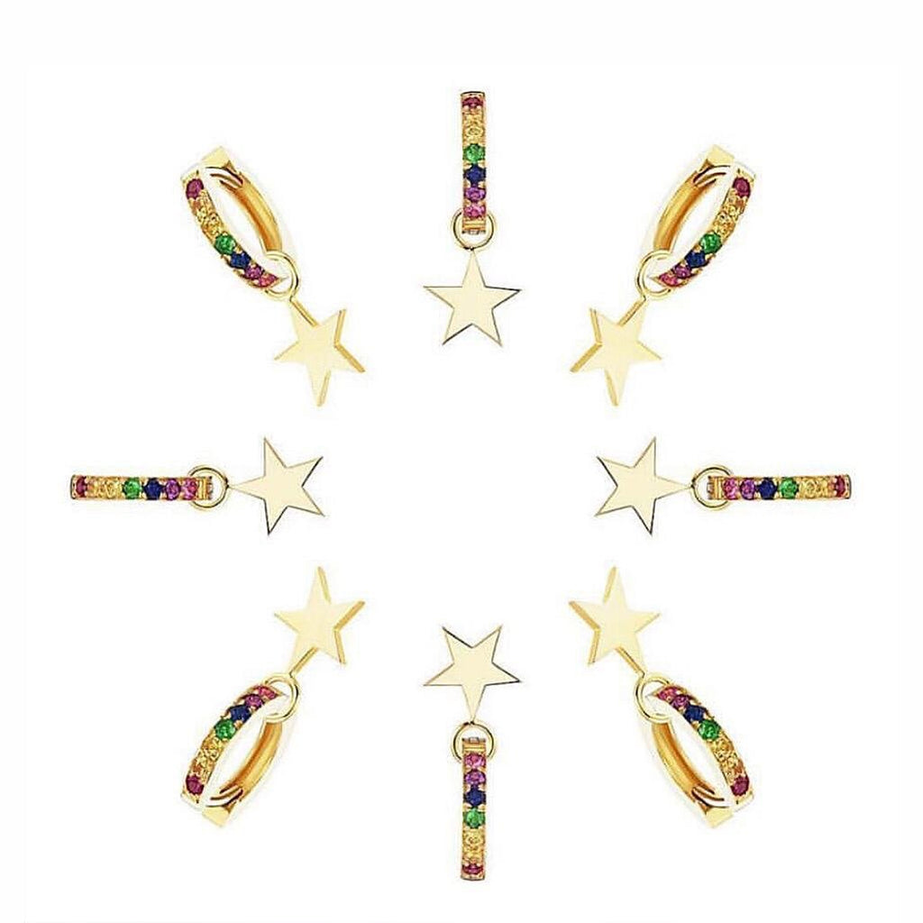 Rainbow Star Huggie Earrings The Sis Kiss