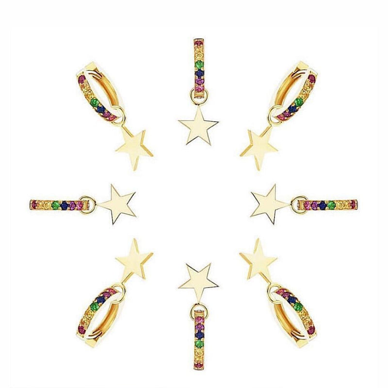 Rainbow Star Huggie Earrings