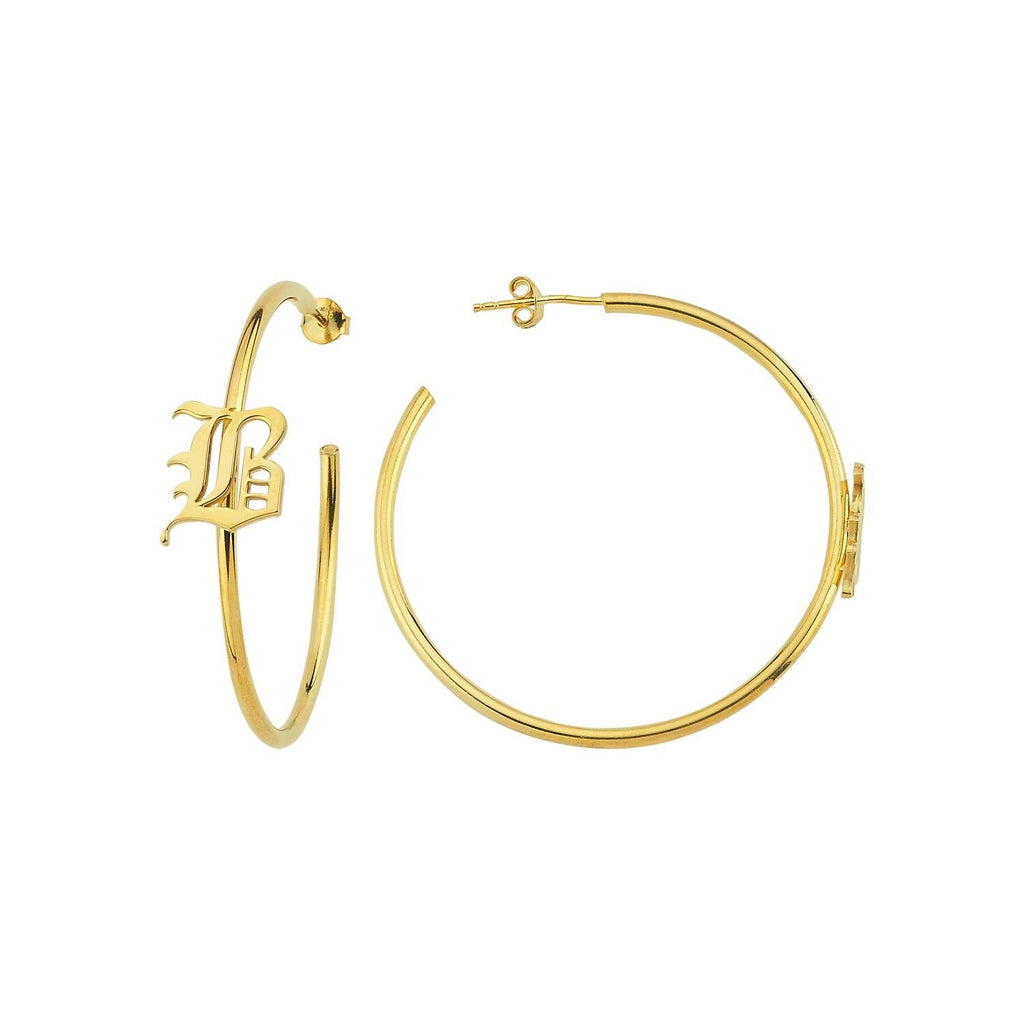 Custom Old English Initial Hoops JEWELRY The Sis Kiss