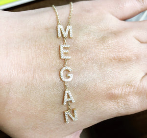 Vertical All in a Name Custom Necklace on woman's hand
