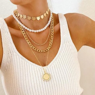Custom Coin and Pearl Initial Pendant necklace The Sis Kiss