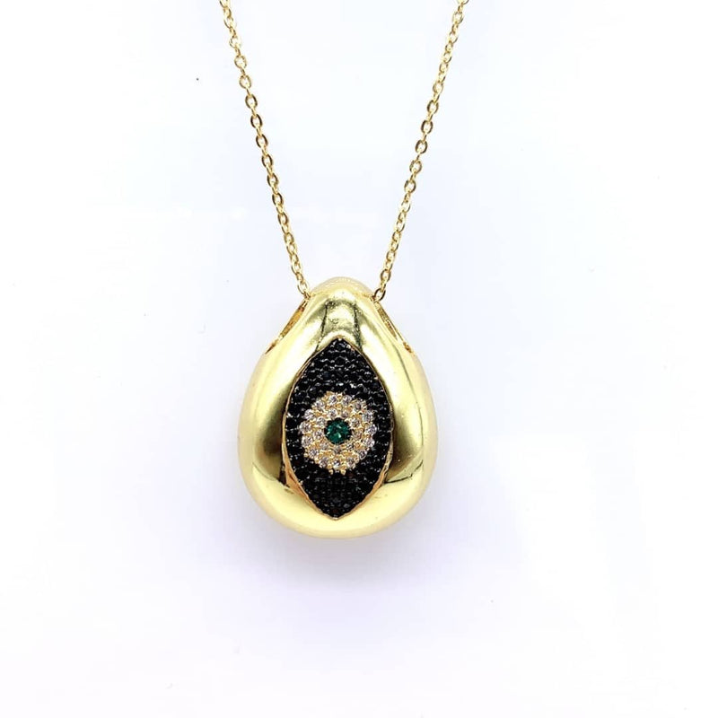 Black Crystal Evil Eye Shell Necklace