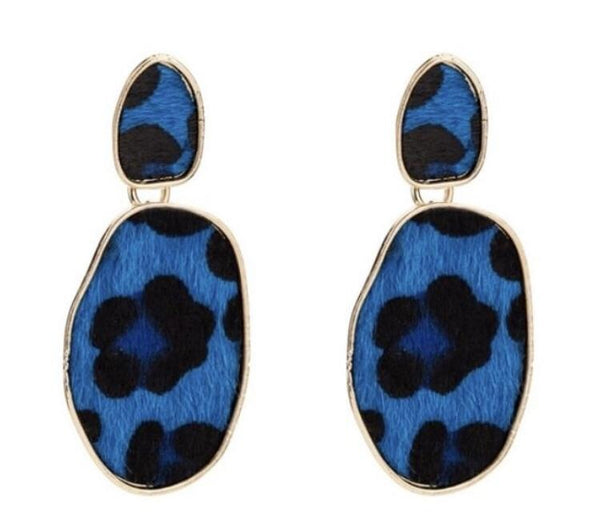 Faux Short Hair Leopard Drop Earrings