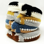 Stripe Pearl Faux Fur Headband