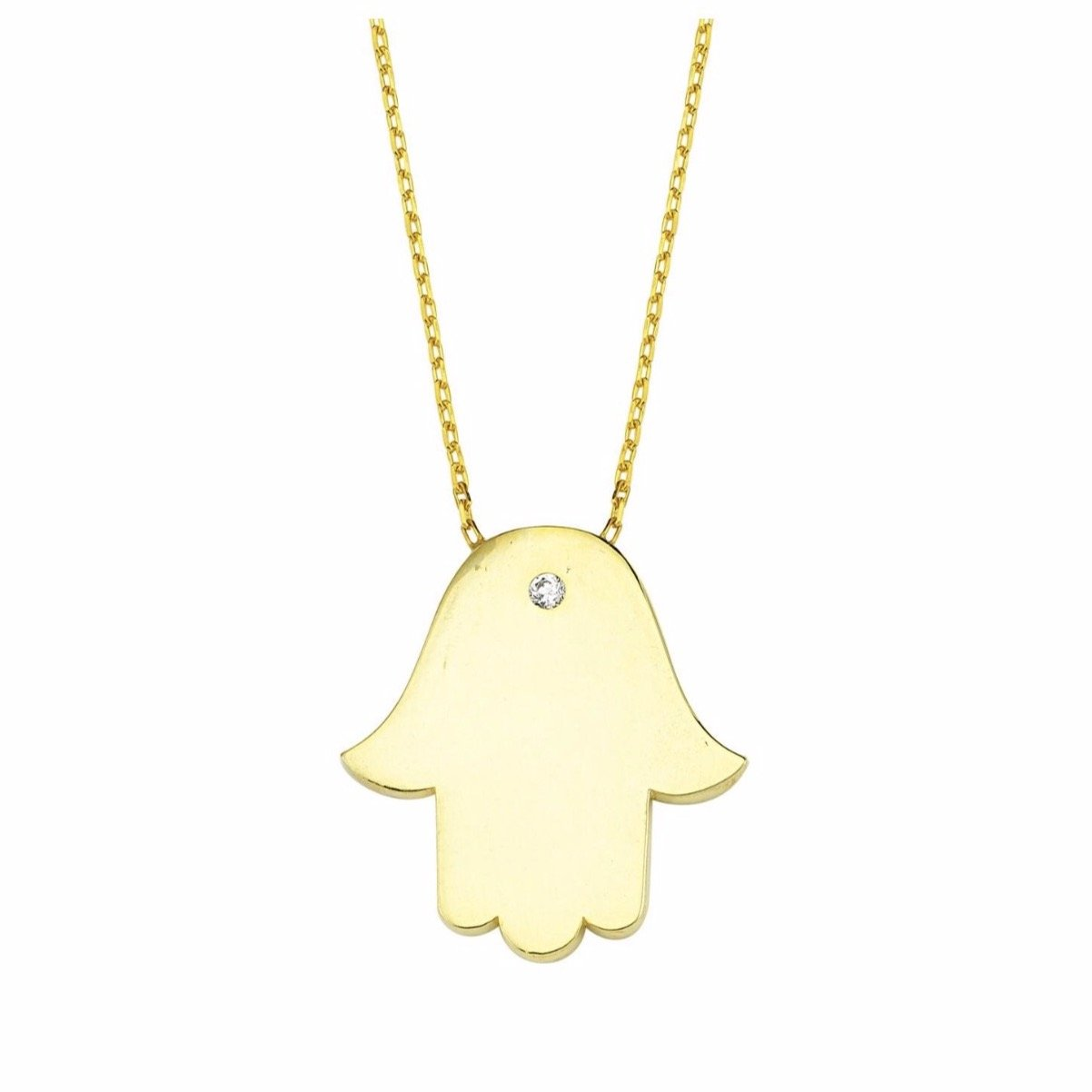 Hamsa Hand Gold Necklace with tiny crystal.