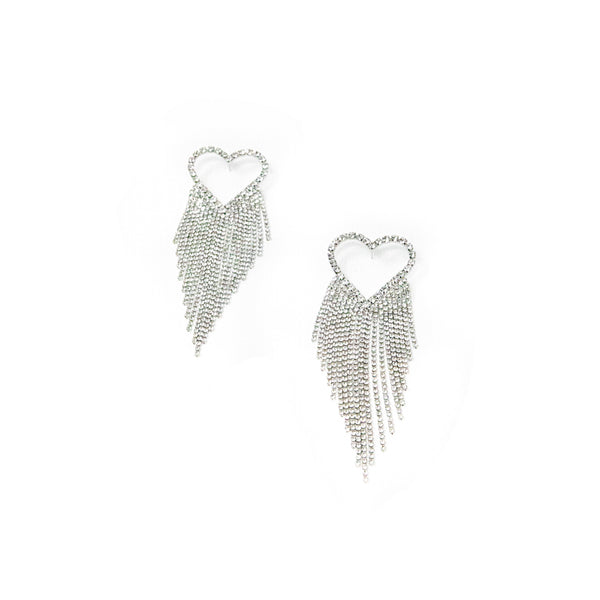 Heart Crystal Waterfall Earrings