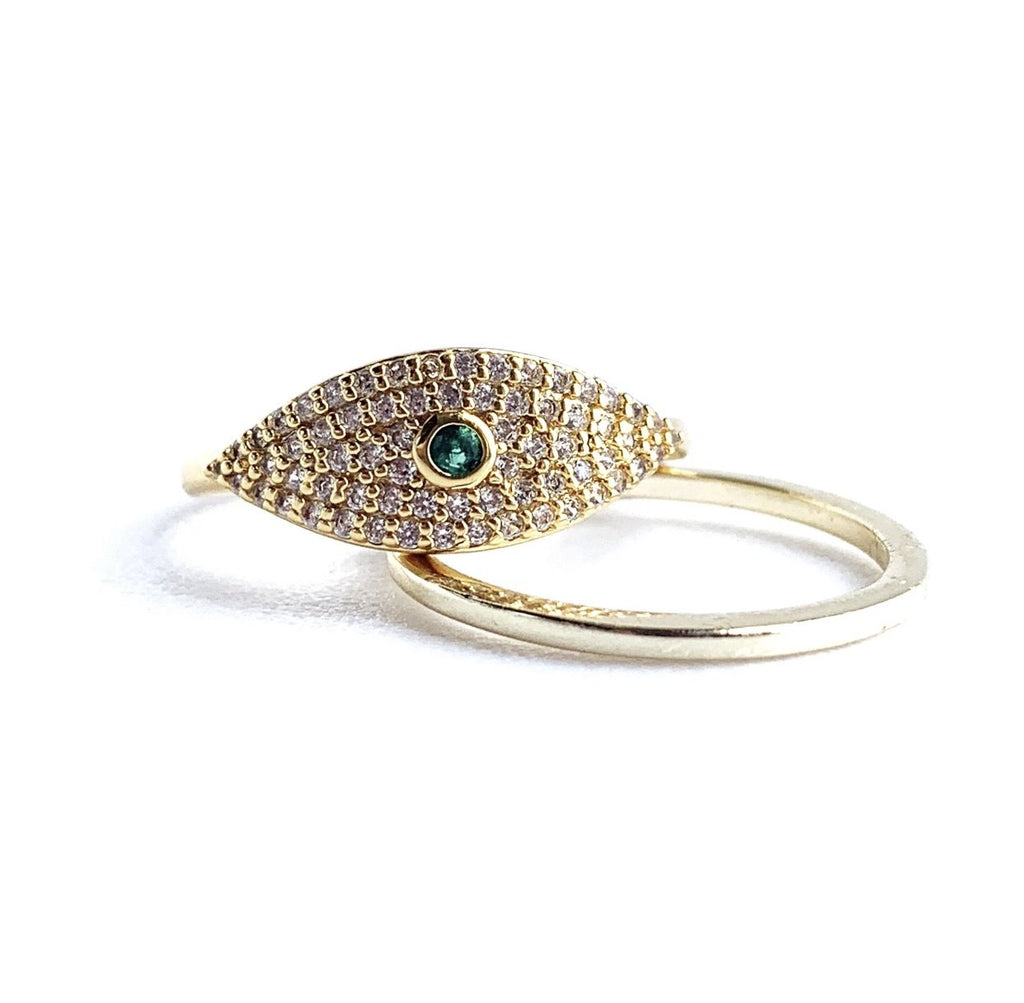 Adjustable Evil Eye Sparkle Ring JEWELRY The Sis Kiss