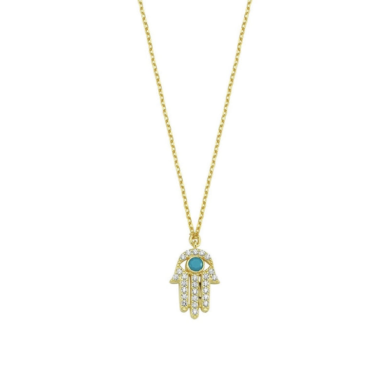 Dainty Hamsa Hand Necklace JEWELRY The Sis Kiss