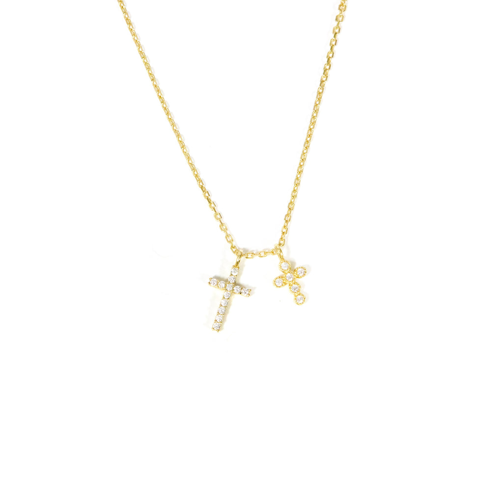 Double Dainty Cross Necklace JEWELRY The Sis Kiss
