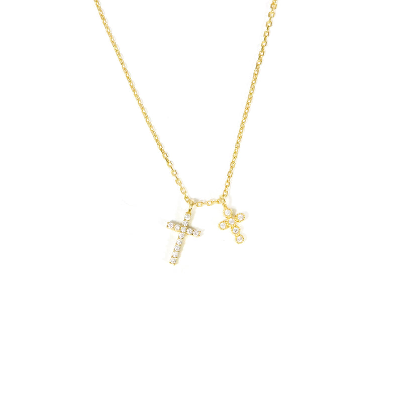 Double Dainty Cross Necklace