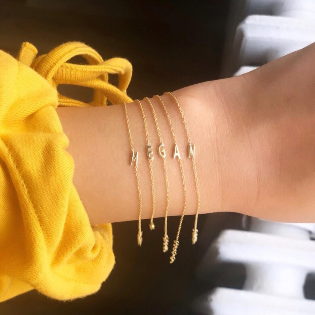 Initial Gold Bracelet JEWELRY The Sis Kiss