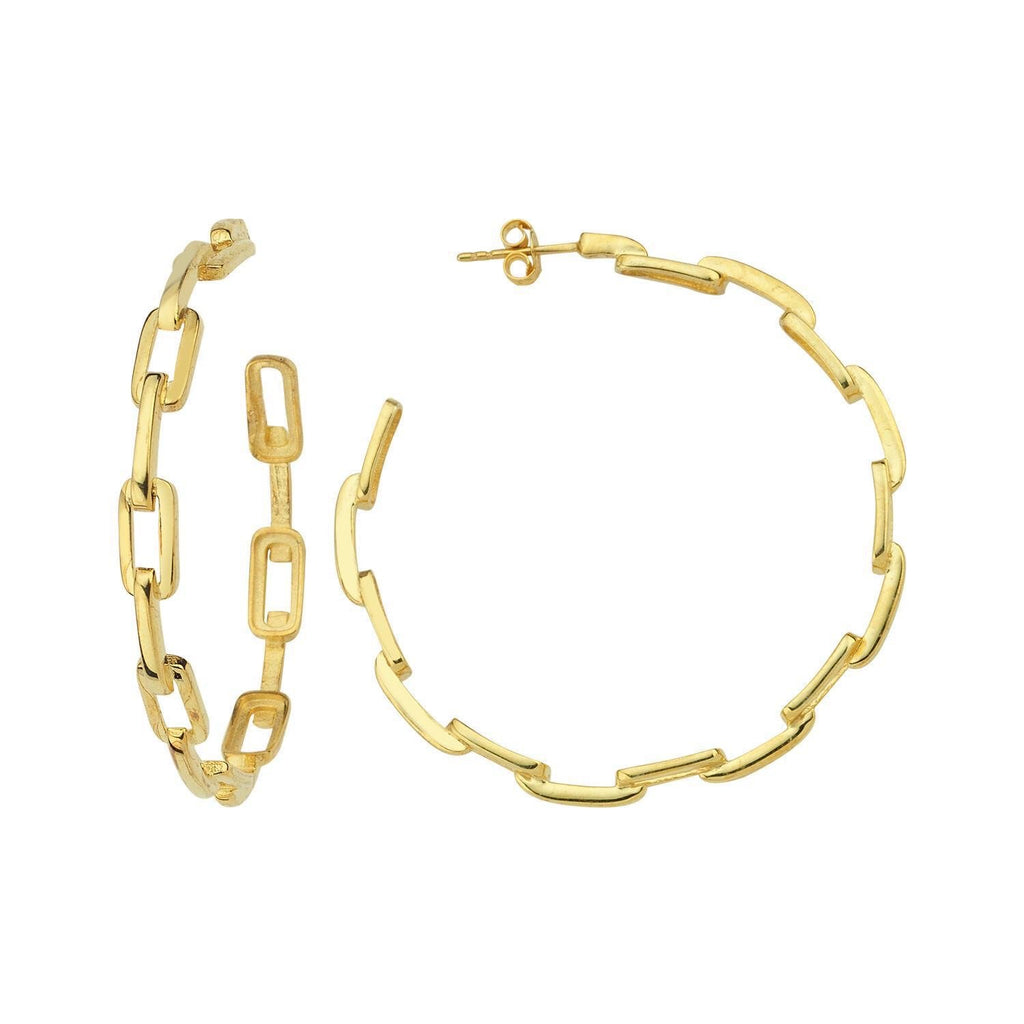 Gold Chain Link Hoop Earrings JEWELRY The Sis Kiss