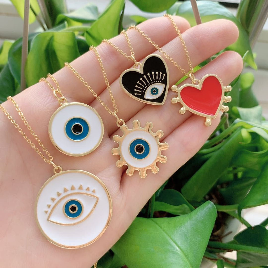Black/Red Heart Evil Eye Necklace JEWELRY The Sis Kiss