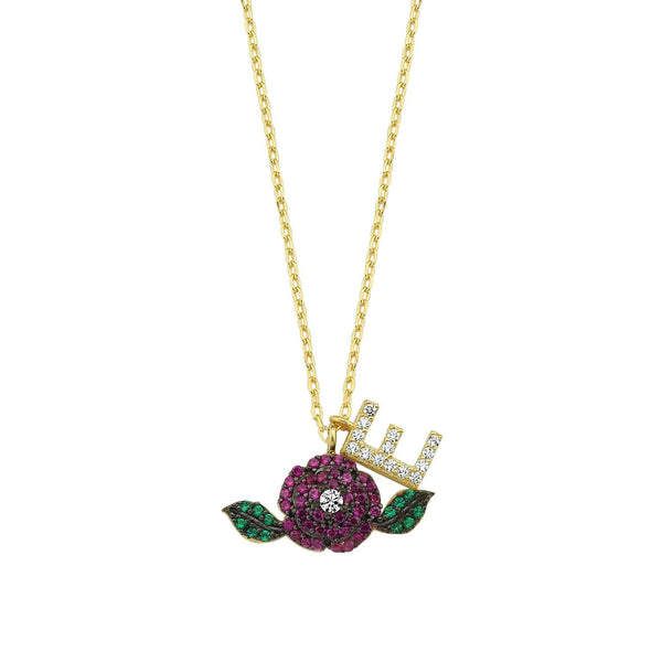 Flower Initial Charm Necklace