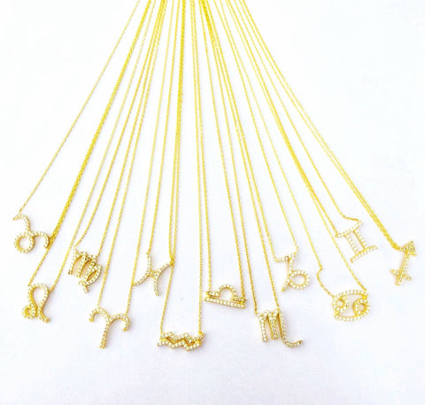 Zodiac sign crystal necklaces