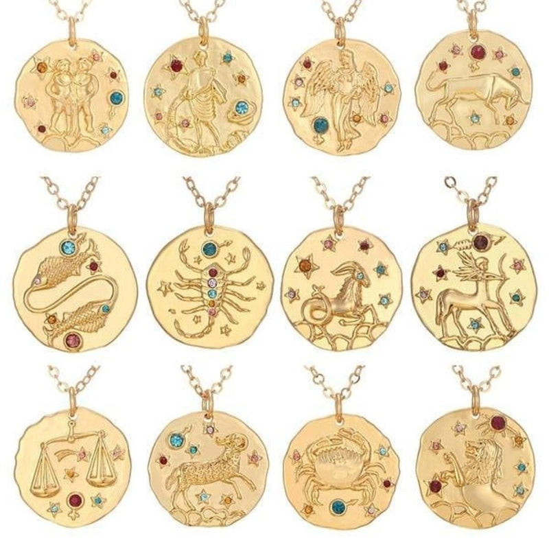 Gold Crystal Zodiac Coin Necklace JEWELRY The Sis Kiss