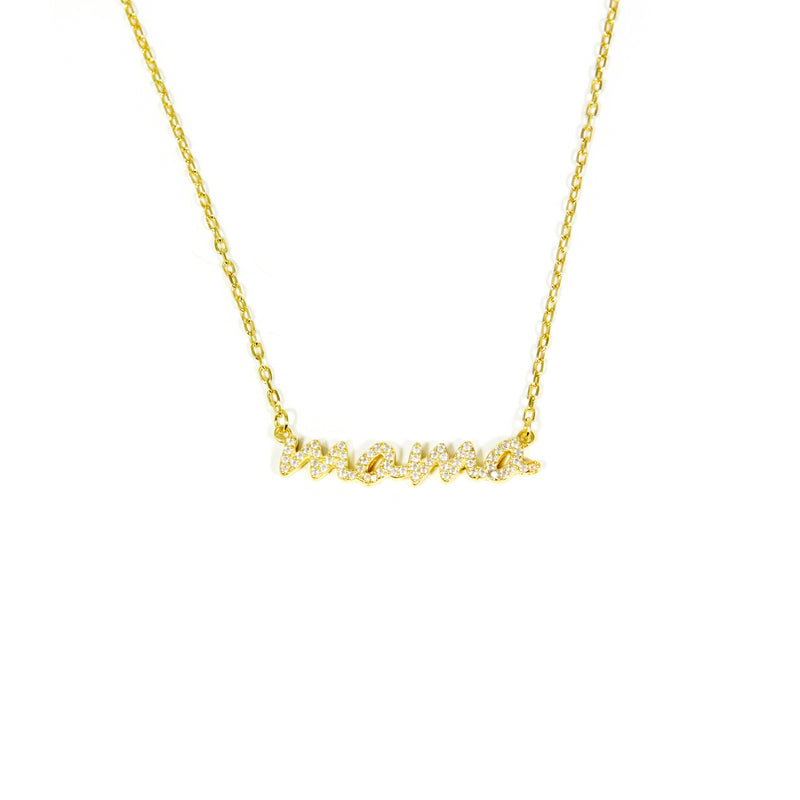 Crystal Script Mama Necklace JEWELRY The Sis Kiss Mama GOLD