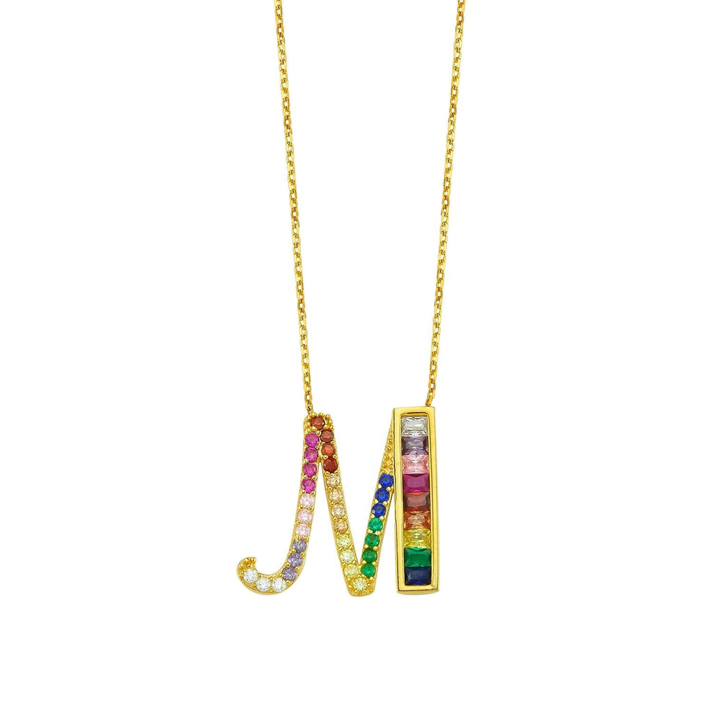 Rainbow Pave Crystal Initial Letter