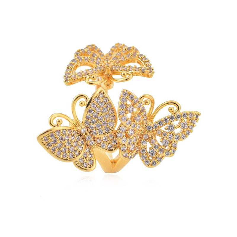 Triple Adjustable Butterfly Ring