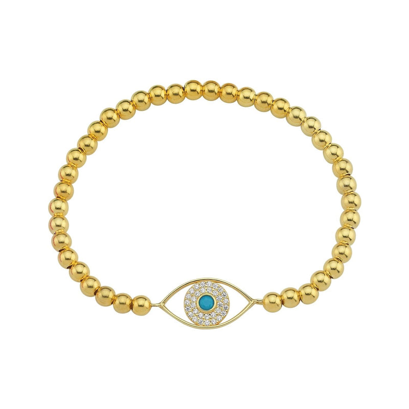 Bead Stretch Evil Eye Bracelet JEWELRY The Sis Kiss Gold Beads
