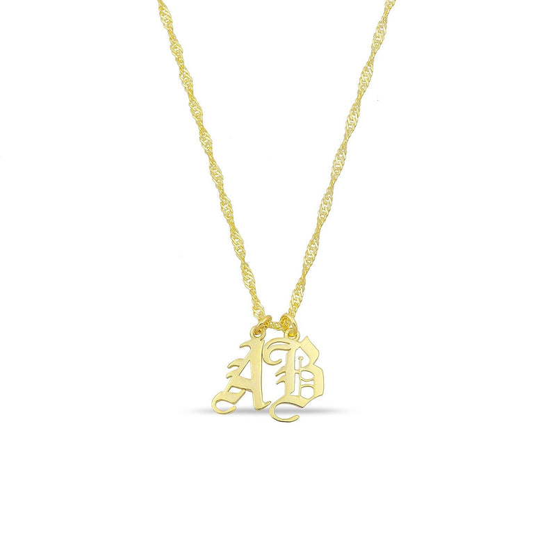 Custom Old English Layered Initial Necklace JEWELRY The Sis Kiss