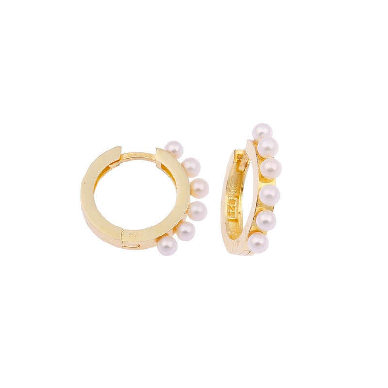 Medium Pearl Huggie Earrings JEWELRY The Sis Kiss