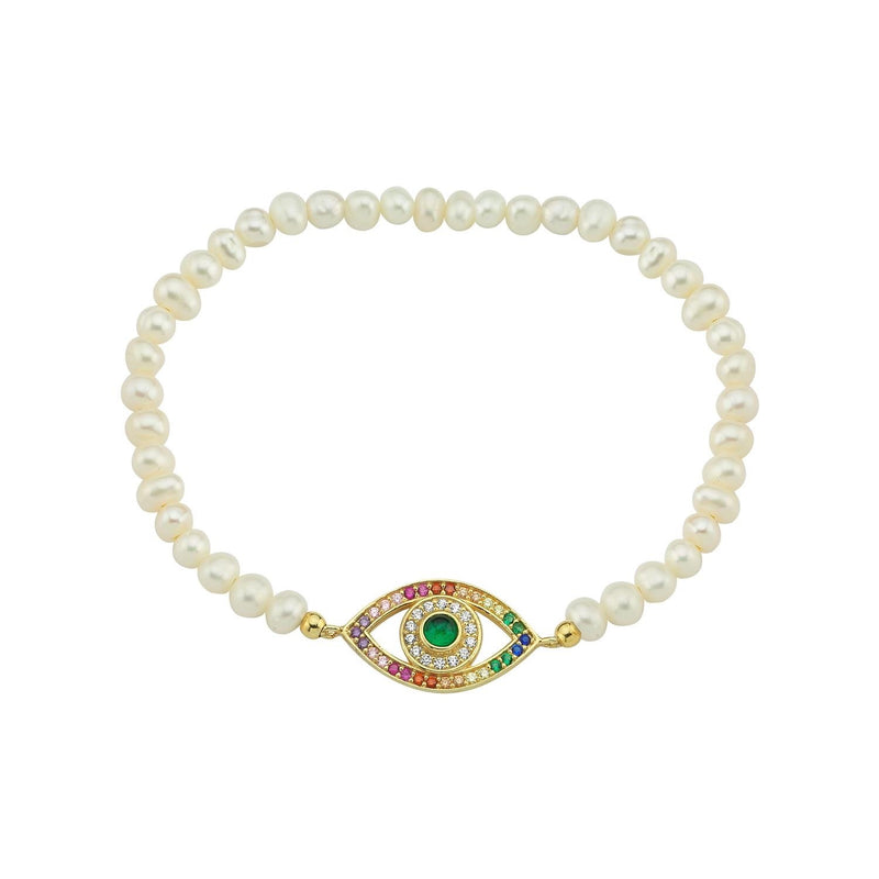 Bead Stretch Evil Eye Bracelet JEWELRY The Sis Kiss Pearl beads, Rainbow eye