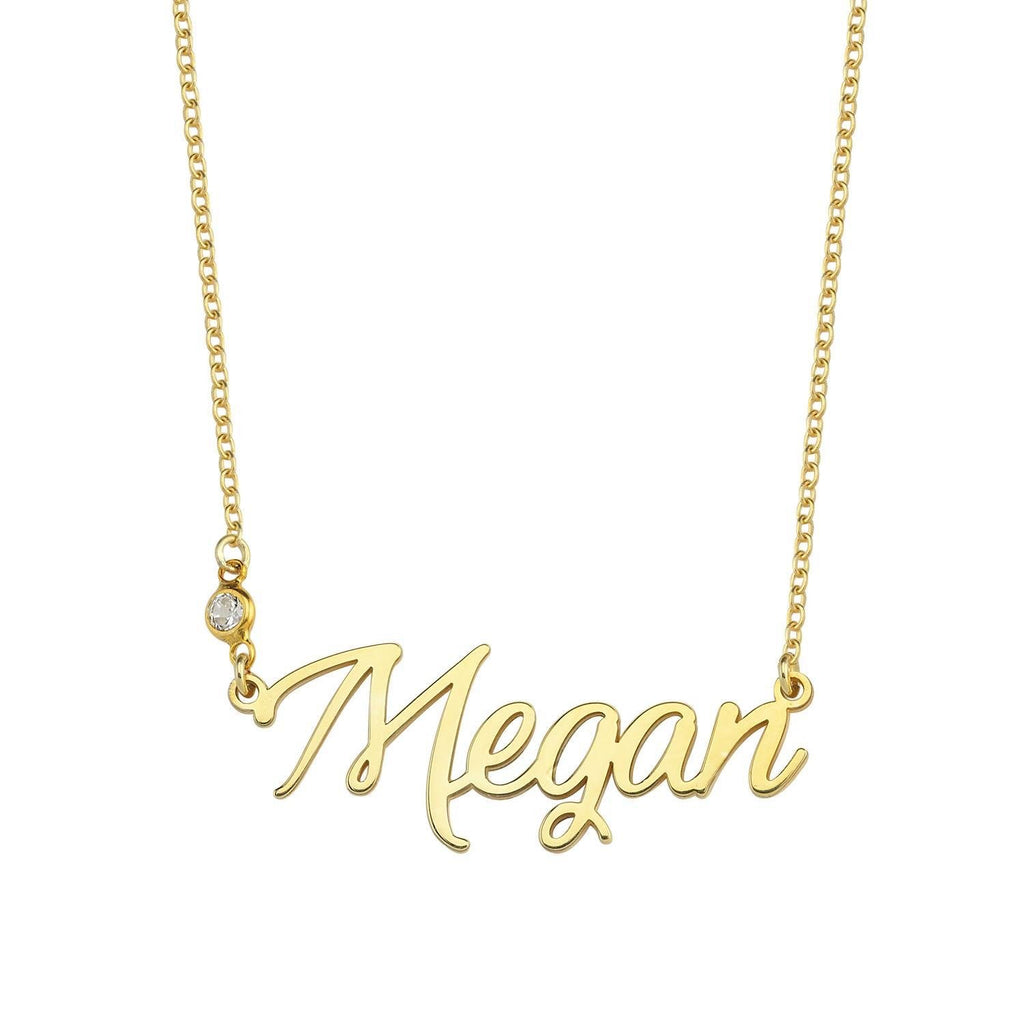 Custom Cursive Nameplate Necklace JEWELRY The Sis Kiss April- Diamond (crystal) Gold