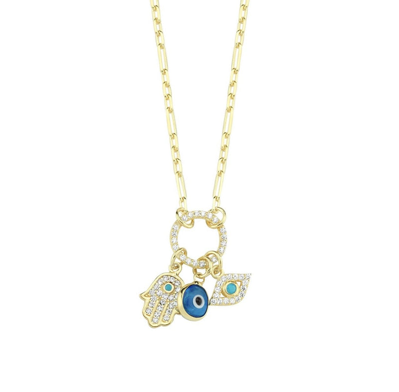 Evil Eye Hamsa Hand Charm Necklace JEWELRY The Sis Kiss