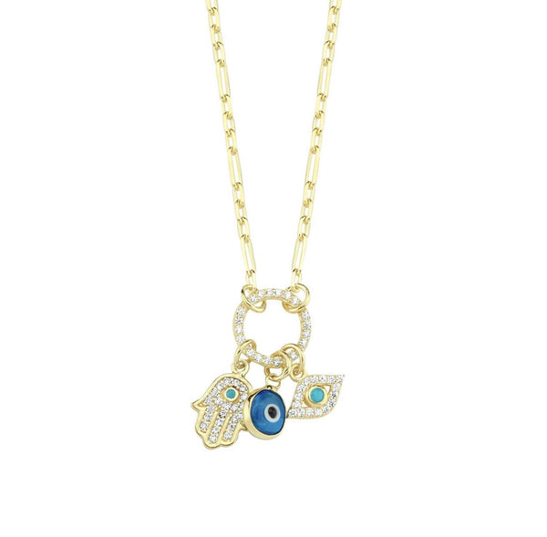 Evil Eye Hamsa Hand Charm Necklace