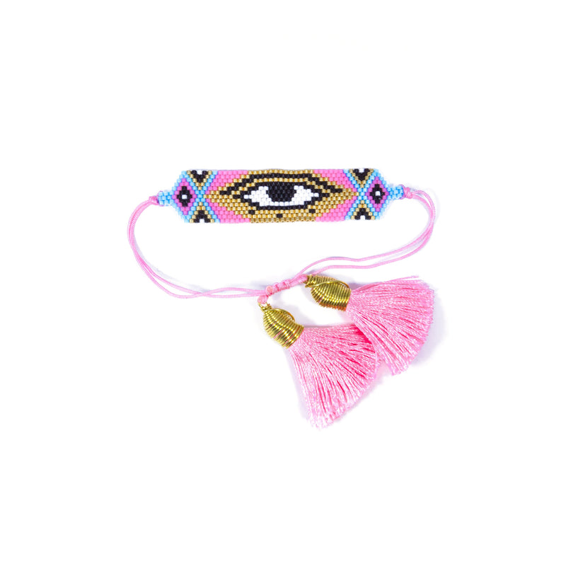Evil Eye Pink Tassel Bracelet JEWELRY The Sis Kiss