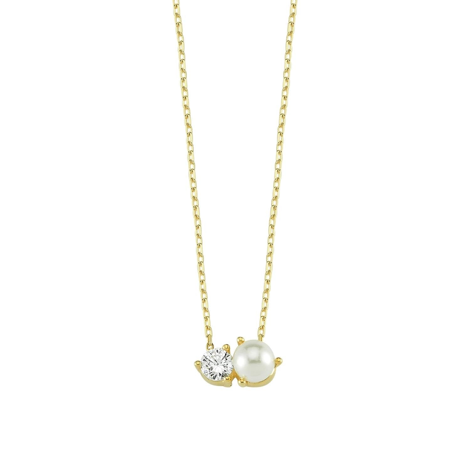 Dainty Crystal & Pearl Necklace