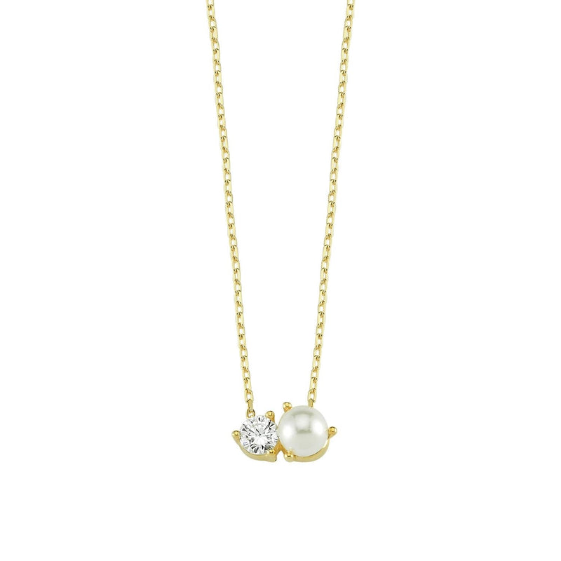 Dainty Crystal & Pearl Necklace JEWELRY The Sis Kiss Necklace