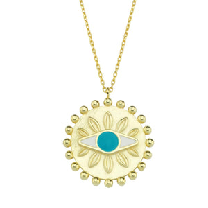 Evil Eye Round Pendant Necklace