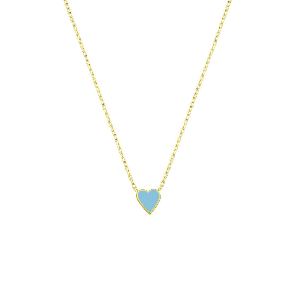 Classic Mini Heart Pendant Necklace necklace The Sis Kiss Turquoise
