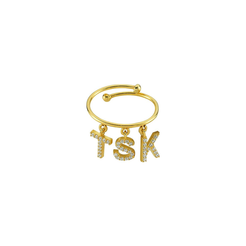 Custom Dangle Charm Initial Ring JEWELRY The Sis Kiss Gold