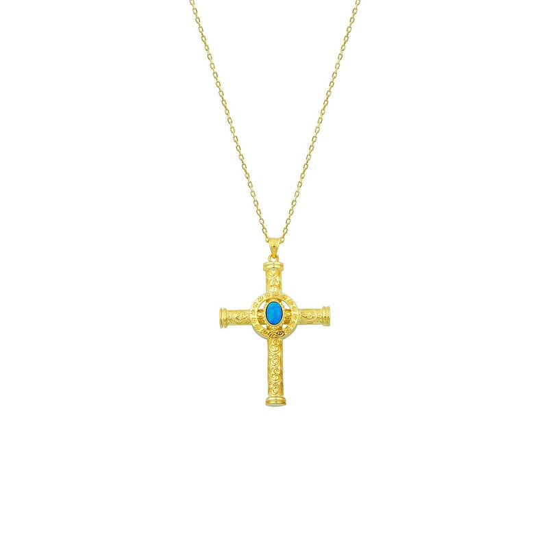 Turquoise and Gold Cross Necklace JEWELRY The Sis Kiss