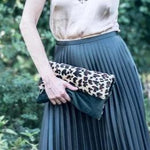 Green Velvet Leopard Clutch