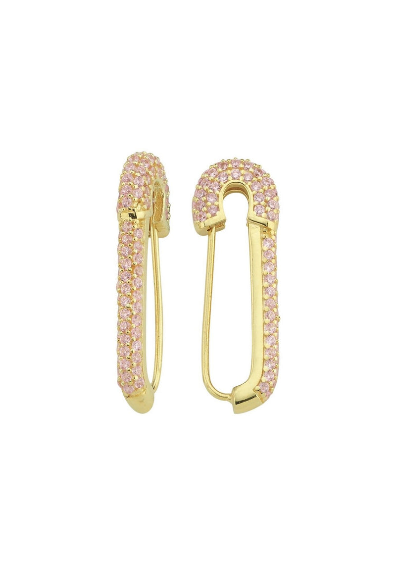 Pink Pave Paperclip Earrings