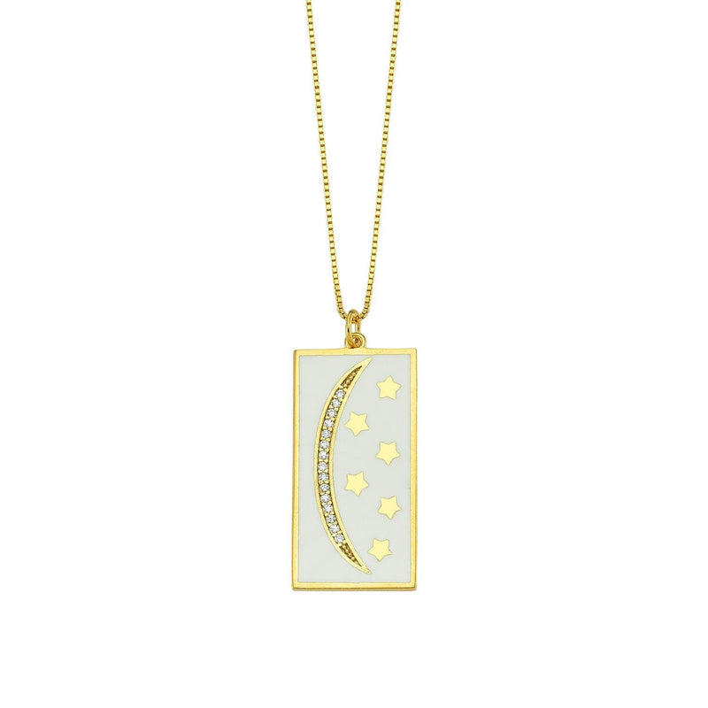 Moon and Stars Tile Necklace JEWELRY The Sis Kiss
