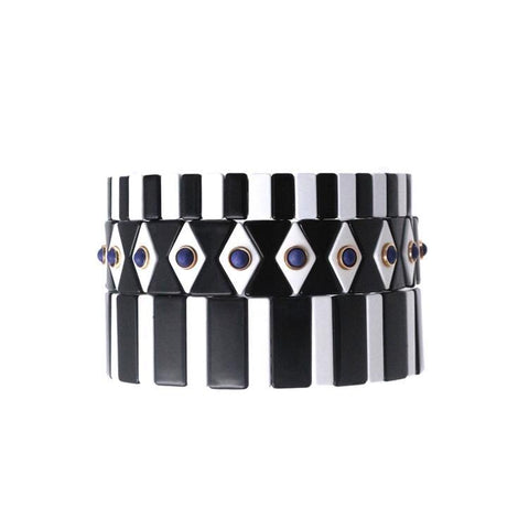 Black & White Tile Bracelets