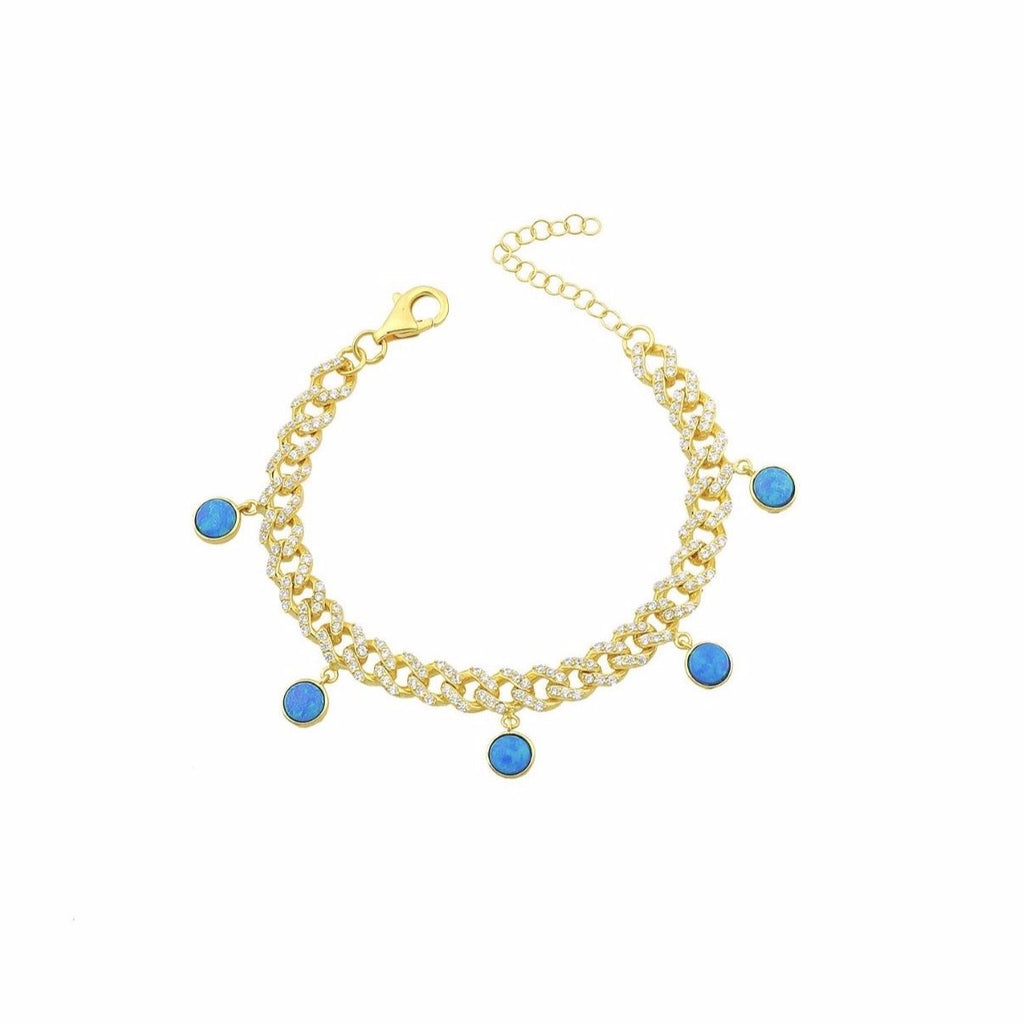 Blue Opal Pave Chain Bracelet JEWELRY The Sis Kiss